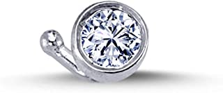 Piercing da naso con diamante da 0,08 carati, in oro bianco 750, 18 carati.