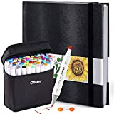 "Ohuhu 60 Colors Alcohol Art Markers (Fine & Chisel, Bonus 1 Colorless Blender) + 8.3"" ×8.3"" Marker Pads Art Sketchbook, 120LB/200GSM Heavy Smooth Drawing Papers, 78 Sheets/156 Pages"