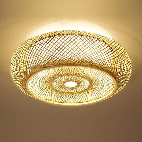 TAIDENG Lámpara de techo de bambú tejida a mano Lámpara de techo de bambú Nordic Modern LED Lámpara hecha a mano Linterna de madera maciza Ventosa E27 Arte creativo Iluminación dormitorio restaurante