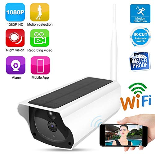 Tangxi Cámara de Seguridad Solar 1080p HD, Cámara de Seguridad Inalámbrica WiFi Bullet, Cámara Web de Vigilancia Exterior con IP66 a Prueba de Agua + Punto de Acceso Ap + Audio Bidireccional