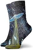 Unisex Pingüinos Lindos y Nave Espacial Extraterrestre en Galaxy Suaves y Transpirables Calcetines Altos de Algodón Casual Calcetines Más Gruesos Debajo de la Rodilla Calcetines Cómodos