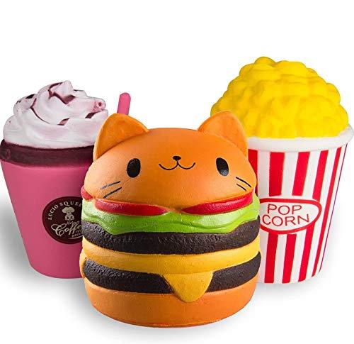 ZhengYue Squishy Kawaii Grandes Baratos Juguete Niños Squeeze Popcorn Hamburguesa Café Squishy Slow Rising Pack Descompresión Juguetes Compresivos