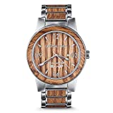 Original Grain Wood Watch - Brewmaster Collection Wrist Watch - 5-Hand Japanese Quartz Movement - Wood and Brushed Stainless Steel - Water Resistant