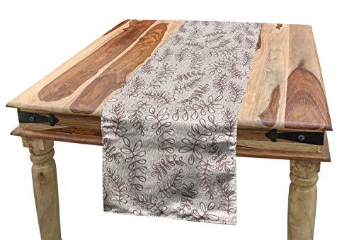 ABAKUHAUS bladeren Tafelloper, Sketch Style Gebladerte, Eetkamer Keuken Rechthoekige Loper, 40 x 300 cm, Taupe Beige