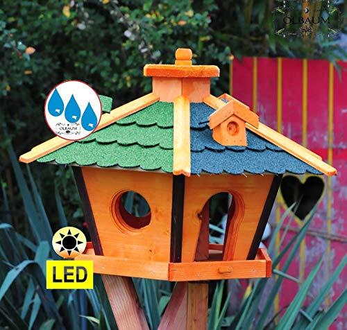 Vogelhaus Massivholz,Massiv-WETTERFEST, mit Silo,Futtersilo für Winterfütterung,mit Beleuchtung LED-Licht -Holz Nistkästen & Vogelhäuser- Futterstation aus Holz mit Silo Holz grün BLAU BRL60g-bEOS, Futterhaus