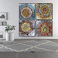 ポスターと版画壁アートキャンバス絵画抽象油絵抽象水彩画年次リングリビングルームの装飾(70x70cm)x4フレームなし