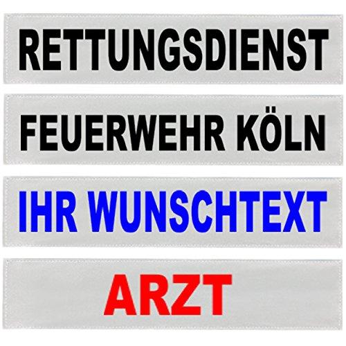 PACO Deutschland e.K. Reflexschild Rückenschild silber reflektierend mit Wunschtext 38x8cm, 42x8cm, 30x5cm Wunschtext individuell wie RETTUNGSDIENST FEUERWEHR NOTARZT etc. (28x8cm)