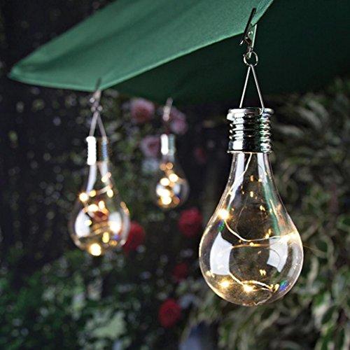 Goodtrade8 Solar Light Bulb Waterproof Solar Rotatable Outdoor Garden Camping Hanging LED Light Lamp Bulb (Warm White)
