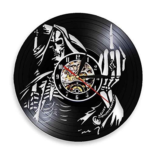 """TeenieArt Dedo Medio Esqueleto Reloj De Pared con Registro De Vinilo Reloj De Pared Led Reloj De Cuarzo De 12"""" Lámpara De Noche Colgante Creativa Reloj De Pared Luminoso De 7 Colores"""
