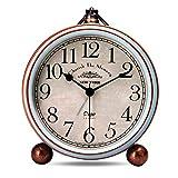 Lafocuse 13.3cm Despertador Analógico Metal Grandes Vintage de Noche Reloj de Mesa Silencioso Azul para Infantil Dormilones