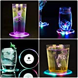 TINYOUTH 6 Pieces LED Coasters for Drinks, Light Up Coasters ON/OFF Disposable Round Coasters for drinks, Acrylic Coasters for Beer Cocktail Parties Weddings Bar Christmas, Colorful LED Coasters