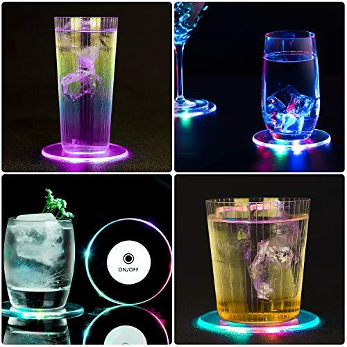 TYXSHIYE 3 Stück Bunt LED Untersetzer für Getränke, Ein/Aus LED Einweg Untersetzer, Wasserdichte Leuchtuntersetzer für Flaschen, Acryl Untersetzer Rund für Partys Hochzeiten Bar Weihnachten