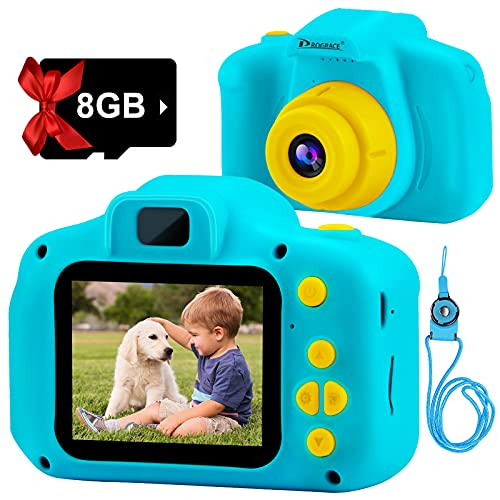 PROGRACE Kids Camera 2 Inch IPS Children Digital Cameras for Boys 1080P Video Camcorder Toddler Camera for Kids Birthday Gifts for 4-12 Year Old Girls Boys Toys with SD Card-Blue
