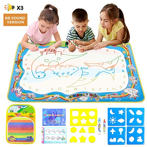 XMWEALTHY Aqua Magic Doodle Mat for Kids Large Water Drawing Mat with BB Sound Cute Coloring Mat Painting Writing Doodle Board for Toddlers Girls Boys Age 3 - 12 Years, Gifts for Xmas, Birthday