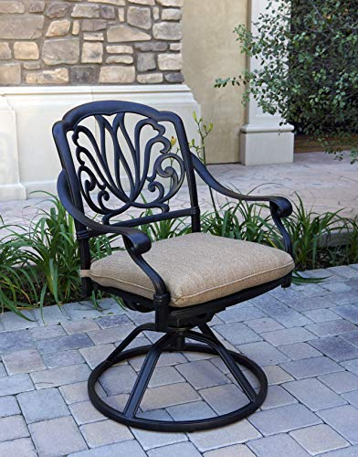 Darlee Cast Aluminum Elisabeth Swivel Rocker Chairs with Cushions, Set of 4, Antique Bronze