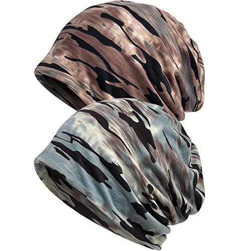 REYOK 2 Stücke Slouch Beanie Mütze, Mützen Unisex Dünn Slouch Beanie Camouflage Kopfbedeckung für Sport, Chemotherapie, Haarausfall, Schlaf
