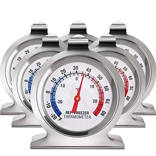 Refrigerator Freezer Thermometer Classic Series Large Dial Thermometer Temperature Thermometer for Refrigerator Freezer Fridge Cooler (6)