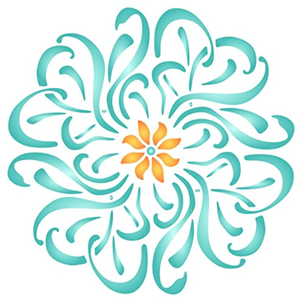 Flower Mandala Stencil - 10 x 10 inch (M) - Reusable Floral Flowers Flora Plants Wall Stencil Template - Use on Paper Projects Scrapbook Journal Walls Floors Fabric Furniture Glass Wood etc.