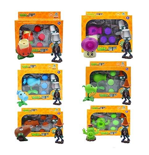 6 Caja / Set Plants Vs Zombies Figuras De Acción Juguetes para Niños PVZ Peashooter Pea Shooter Red Chilli Lanzamiento Plantas Figura Modelo De Juguete