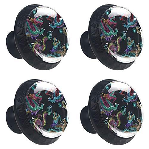 Schwarze Stickerei Chinesische Drachen Runde Schrankknöpfe 4 Stück Knäufe für Kommode Schubladen Schrank, Schwarze Stickerei chinesische Drachen, 3.5 × 2.8cm / 1.38 × 1.10in