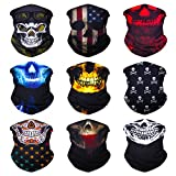 SoJourner 9PCS Seamless Bandanas Face Mask Headband Scarf Headwrap Neckwarmer & More – 12-in-1 Multifunctional for Music Festivals, Raves, Riding, Outdoors(Many Designs) (9PCS Skull Series 2)