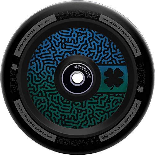 Lucky Lunar Hollow Kern - Patinete para acrobacias (120 mm), diseño de laberinto de mazé, color azul, verde y poliuretano negro