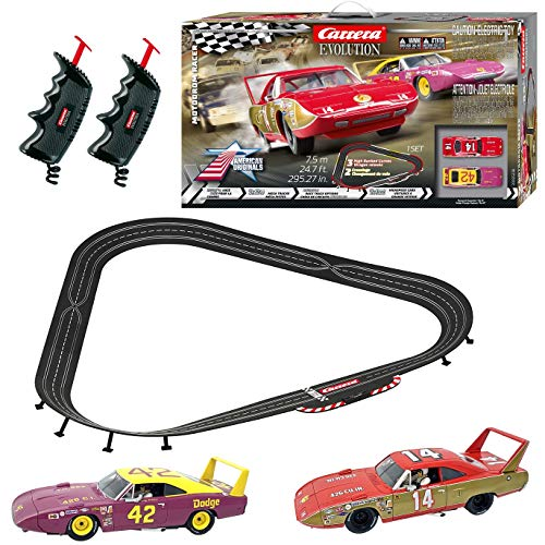 carrera-evolution-20025238-motodrom-racer-analog-electric-132-scale-slot-car-racing-track-set-includes-two-132-scale-cars-two-dual-speed-controllers-ages-8