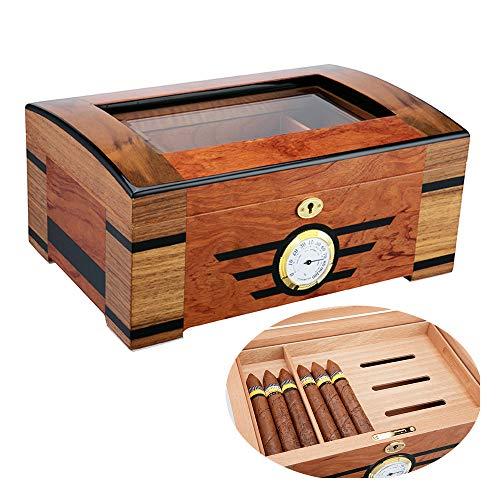 PIPITA Zigarren Humidor Box aus Holz mit Hygrometer und Befeuchtungssystem für ca. 60 Zigarren Zigarren-Zubehör Glasfenster Barzubehör Humidor