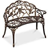 Best Choice Products Steel Garden Bench Loveseat Outdoor Furniture for Patio, Park, Lawn, Deck w/Floral Rose Accent, Antique Finish - Bronze
