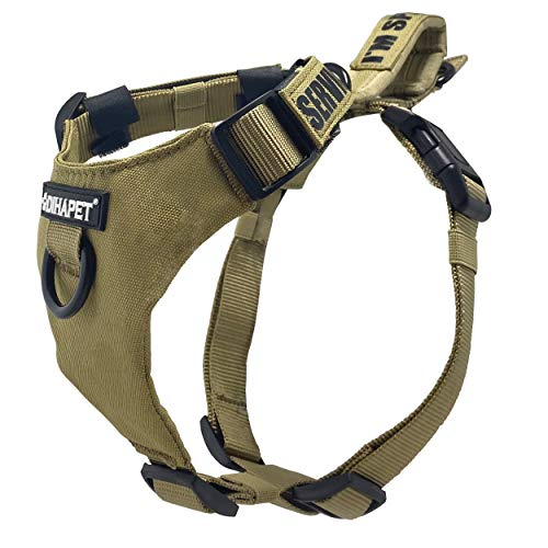 Dihapet, pettorina tattica militare da lavoro per cani, pettorina regolabile con manico, per cani di taglia piccola, media e grande, S Chest 16.5-24.5in, Kimly Cage