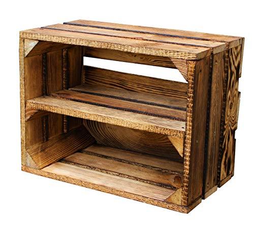 MigiEinkauf 1 Stück Neue Holzkisten Obstkisten Apfelkisten Weinkiste 40x30x23,5 cm TOP (Geflammte Regaleinlage zur längeren Seite)