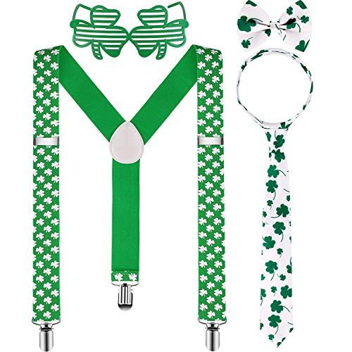 HOTOP 4 Stücke St. Patrick's Tag Hosenträger Zubehör Set inklusiv Kleeblatt Hosenträger Kleeblatt Schleifen und Krawatten für irische Partyartikel