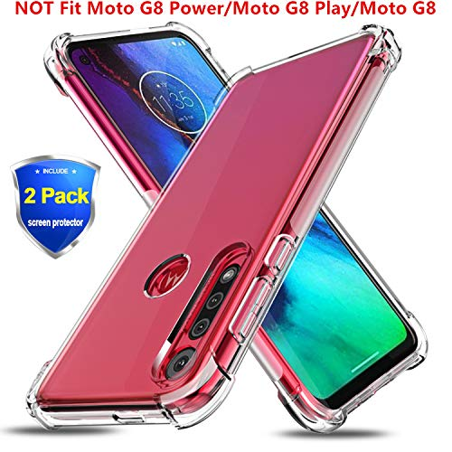 BEBEST-Moto G8 Plus Case, Moto G8+ Plus Phone Case w/Screen Protector [Anti-Scratch & Non-Slip] Flexible Thin Cover [Shockproof Bumper] Ultra Slim Soft TPU Clear Case for Motorala G8 Plus(6.3 Inches)