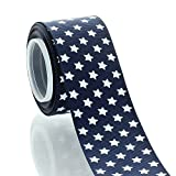 1.5' Navy with White Stars Grosgrain Ribbon 5yd