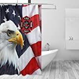 Donnapink Fire Department Logo Firefighter Waterproof 60'X72' Shower Curtain Polyester Fabric Bathroom Bath Sets