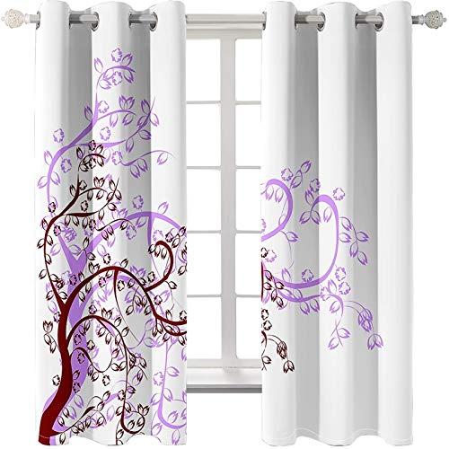 Daesar Cortinas Opaca Ventana Rojo Púrpura Blanco Cortina Poliester Exterior Árbol con Flores y Hojas 264x274CM