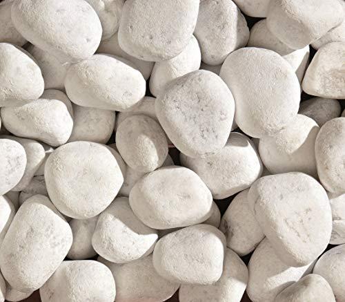 Marmorkies Carrara Kies Marmor rein weiß schneeweisser Zierkies Gartenkies Teichkies Deko Wegkies Wegsteine Gartenweg 25 kg Sack, Körnung 40-60 mm