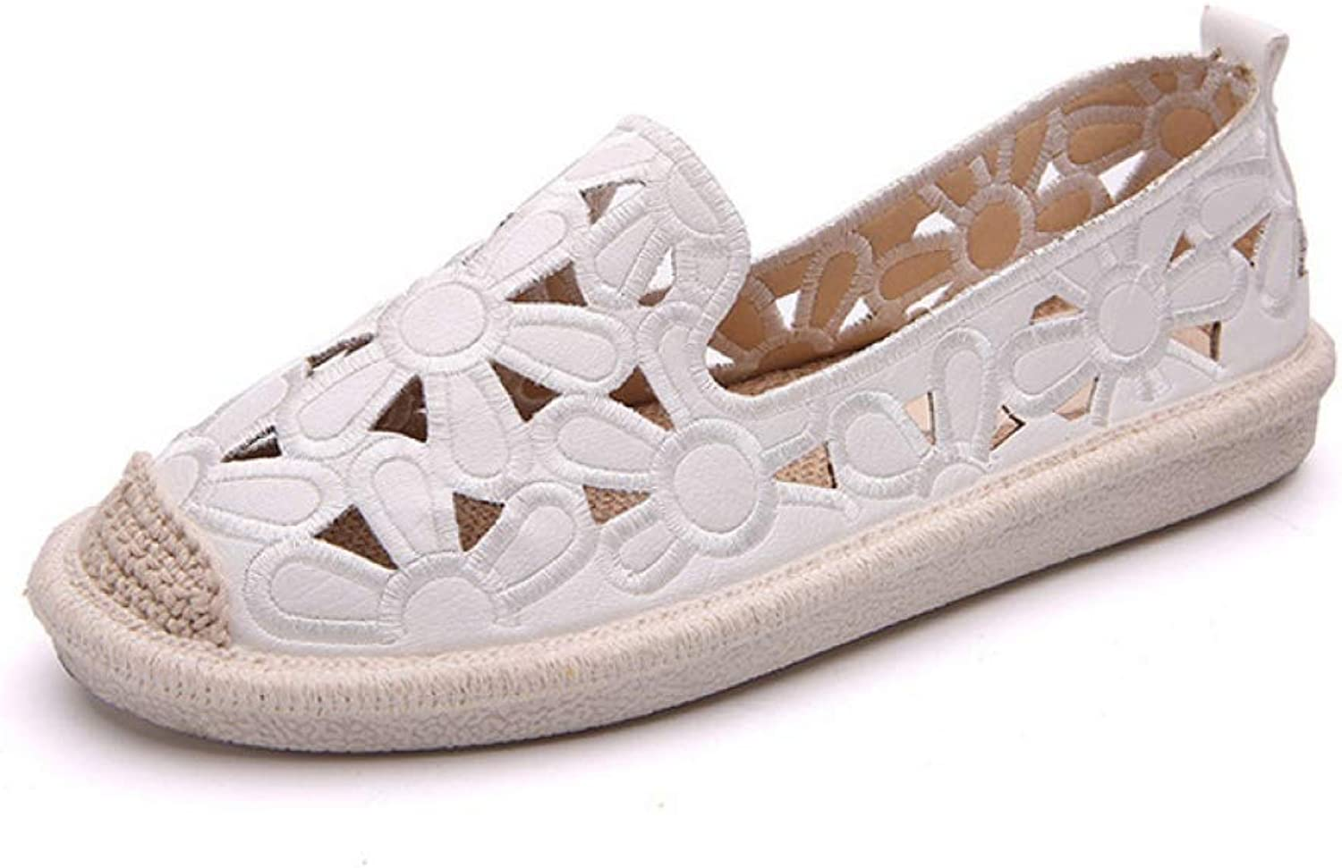 Women's Flats Loafers Hollow Out Floral Straw Fisherman shoes Casual Slip on Boat shoes