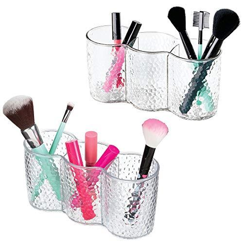 mDesign Juego de 2 - Trio-organizador de cosméticos, para el gabinete del...