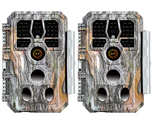2-Pack Game Trail & Deer Cameras 24MP 1920P MP4 Video Night Vision for Hunting Wildlife Animals & Yard or Field Security Tracking No Glow Motion Activated Waterproof Photo & Video Model Time Lapse