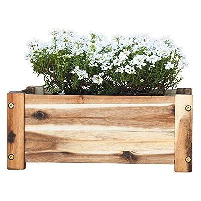 Villa Acacia Wooden Planter Box, Rectangle Shape for Garden, Patio or Window - 17 x 13 x 7 Inch
