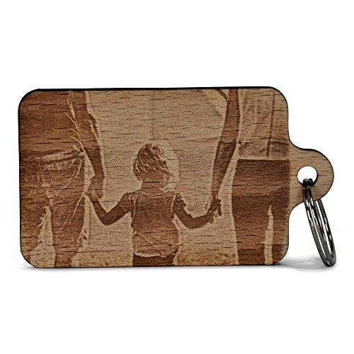 Wogenfels - Schlüsselanhänger aus Holz mit deiner Fotogravur auf beiden Seiten individueller Gravur | 2 Fotos | QUALITÄT und Support aus Österreich
