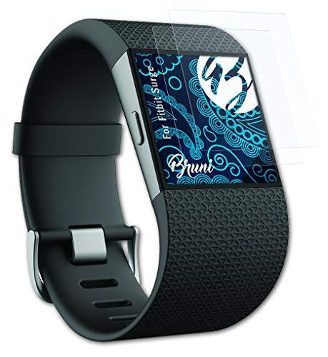 Bruni Schutzfolie kompatibel mit Fitbit Surge Folie, glasklare Bildschirmschutzfolie (2X)