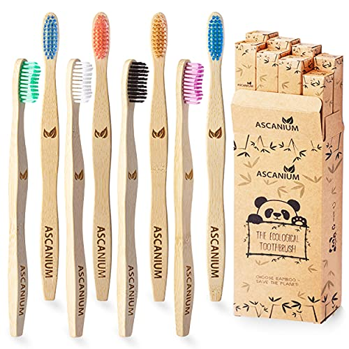 Bamboo Toothbrush Charcoal Biodegradable Wood Toothbrush EcoFriendly Toothbrushes Natural Vegan Organic Tooth Brushes with Wooden Handle for Family and Kids