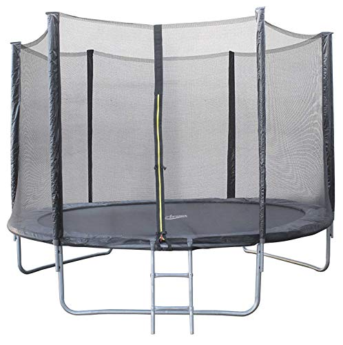 AIRWAVE Outdoor Trampoline With Safety Enclosure For Kids and Children (10ft, Black)