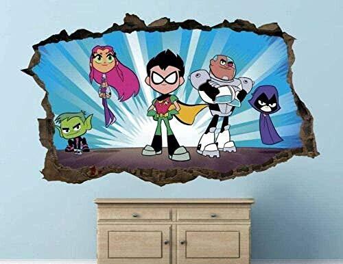 MXLYR 3D Wandaufkleber Teen Titans Action Wandtattoo Kinder Nail Art Kunst Vinyl