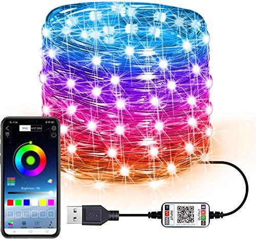 FANIER Tira de luces LED para decoración de árbol de Navidad, USB, Bluetooth, lámpara inteligente, luz de música, iluminación decorativa, cadena de luces para fiestas, decoración DIY, 2 metros