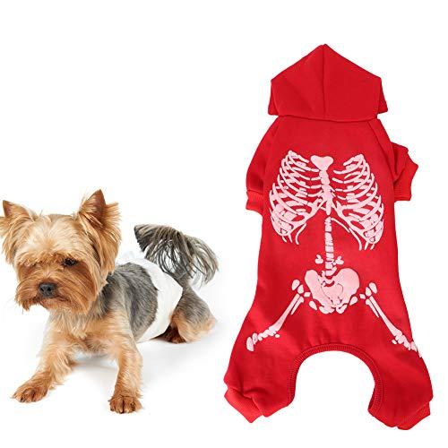 Mascota Perro Gato Ropa Suave Disfraz De Halloween Chaleco con Patrn De Calavera Luminosa Polister Rojo L 0304