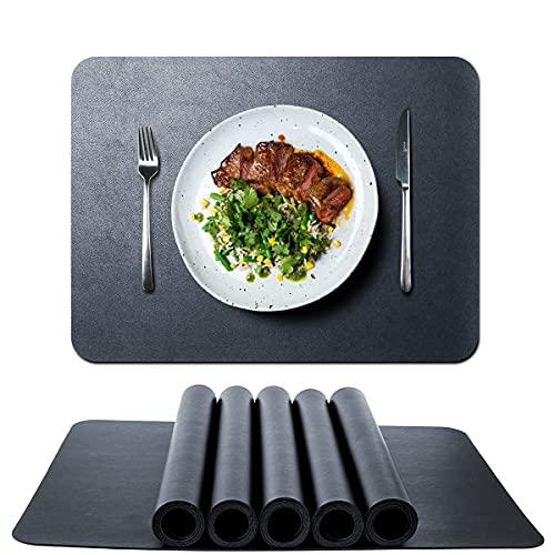 HINOR Tischsets Abwaschbar 6er Set,abwischbar Lederoptik Platzset,Wasserdicht PVC Kunstleder platzdeckchen Tischset für Hause Küche Restaurant Hotel Speisetisch 42x30cm(Schwarz)