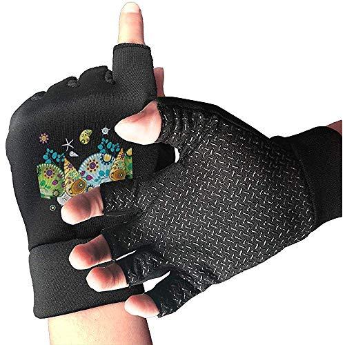 Zaleraith Fahrradhandschuhe Herren Half Finger 2 Turtles Shock-Absorbing Anti-Slip